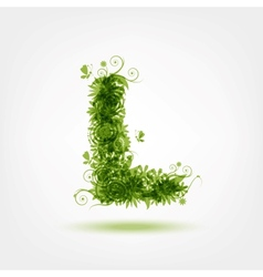 Green eco letter L for your design vector image