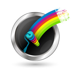 Paint roller in a circle symbol vector