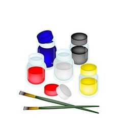Colorful color paint jars with artist brushes vector