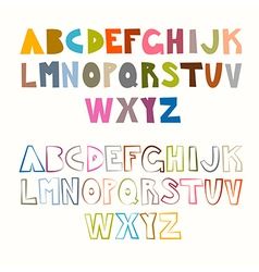 Funny Alphabet Sets Colorful and Outlined vector image