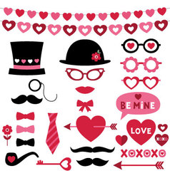 valentine photo booth and scrapbooking set vector image