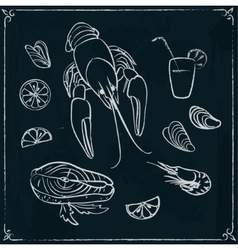Menu design with seafood on blackboard vector
