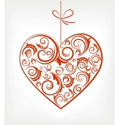 retro red patterned heart vector image