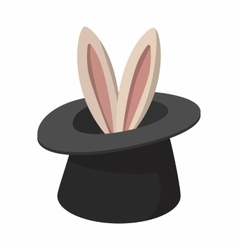 Rabbit appearing from a top magic hat cartoon vector