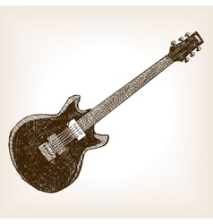 Electric guitar hand drawn sketch style vector