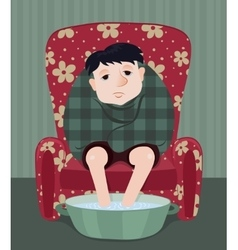 Sick man in a armchair vector
