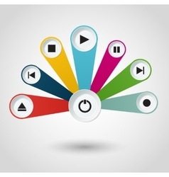 Imfographic with multimedia player buttons vector