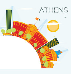 Athens skyline with color buildings blue sky and vector