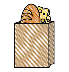 Bag with delicious bread and cheese vector