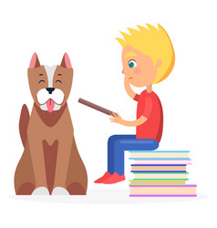 Blond boy sitting on heap of literature with pet vector