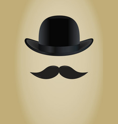 Bowler hat and moustache vector image vector image