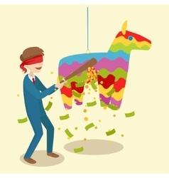 Businessman breaks the pinata cartoon vector image