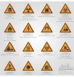 Caution and warning sign icons set vector