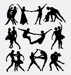 Couple ballet dancing silhouette vector image
