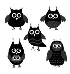 Cute owl set Big eyes Black icons on white Baby vector image
