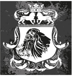 Decorative frame with crown and lions vector