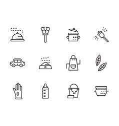 Domestic personnel black line icons set vector