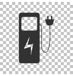 Electric car charging station sign dark gray icon vector