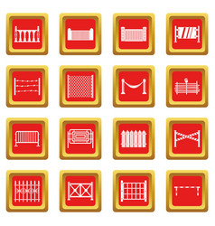 Fencing icons set red vector