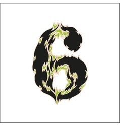 Fiery font black and green number 6 on white vector