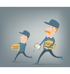 Free shipping Two couriers delivering packages vector image