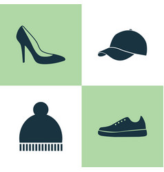 Garment icons set collection of beanie heel vector