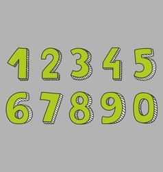 Hand drawn green numbers isolated on grey vector