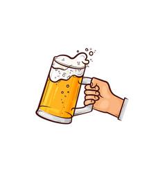 Hand-drawn hand holding mug of beer ale cider vector
