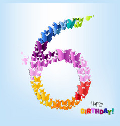happy birthday six years postcard vector image vector image