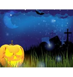 Jack o lantern on a cemetery vector image vector image
