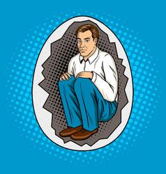 man in shell metaphor pop art style vector image vector image