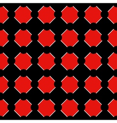 Polka dot Chess Board Grid Red Black Background vector image