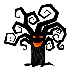 Scary halloween tree isolated on white vector