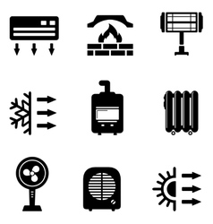Set icons for heating equipment vector