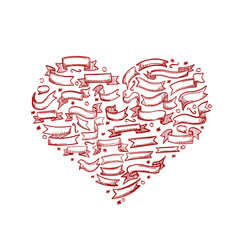 sketch of hand drawn ribbon heart vector image