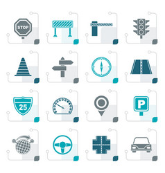 stylized road and traffic icons vector image vector image