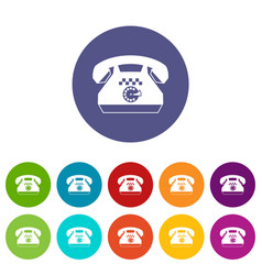 Taxi phone set icons vector