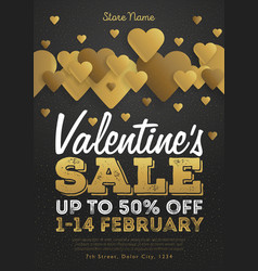 Valentines day sale vintage flyer background with vector