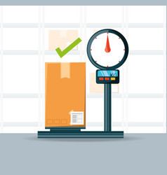 Warehouse and box over scales logistic shipping vector