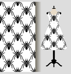 womens dress fabric pattern with spiders vector image vector image
