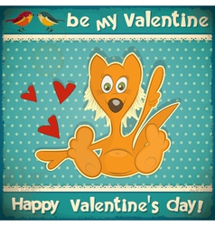 Valentines day retro card vector