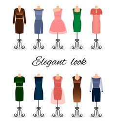 Fashion women dresses in different colors vector