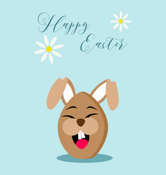 happy easter chocolate egg rabbit greeting card vector image