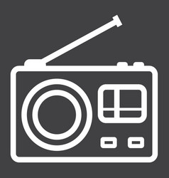 Radio line icon communication and website vector