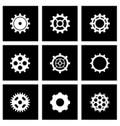 Black gear icon set vector