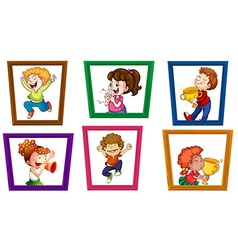 Children and frames vector image