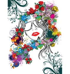 Floral face vector