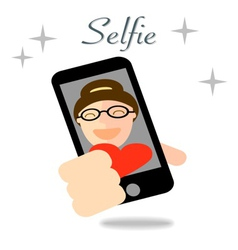 Girl taking selfie photo on smart phone concept vector