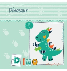 Cute kid background with dinosaur vector