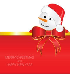 Happy new year with snowman red vector